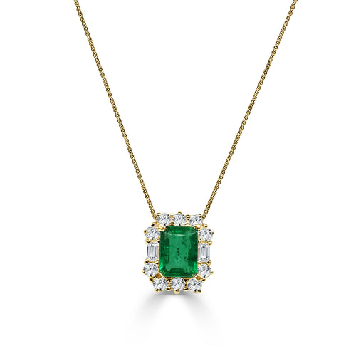 One And A Half Carat Emerald Necklace With Fancy Diamond Halo