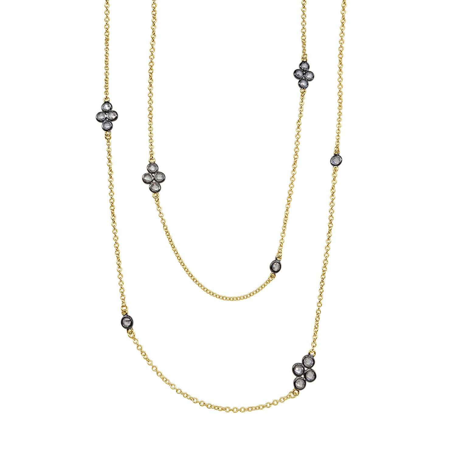 Freida Rothman Signature Four Point Station Necklace In Two Tone