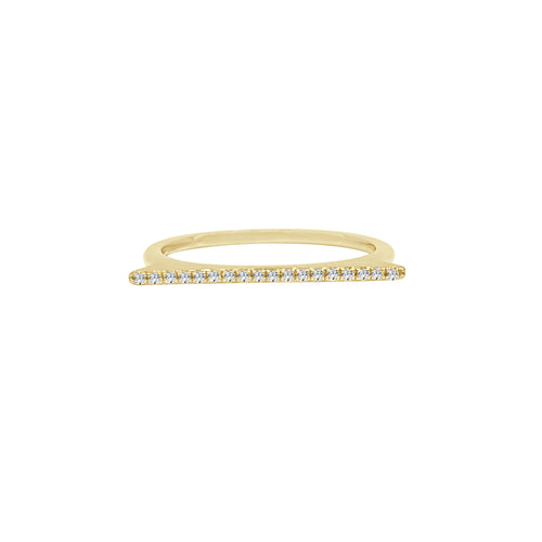 Shy Creations Diamond Bar Ring In Yellow Gold