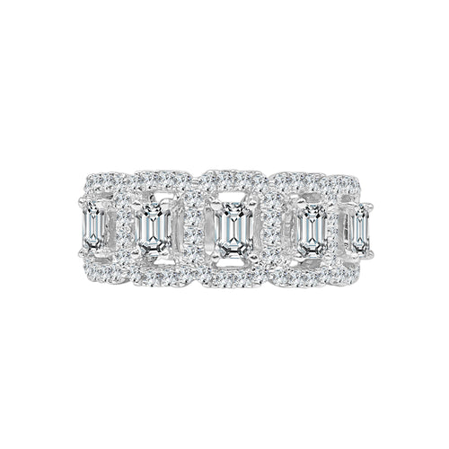 Fancy Emerald Cut With Halo Diamond Band
