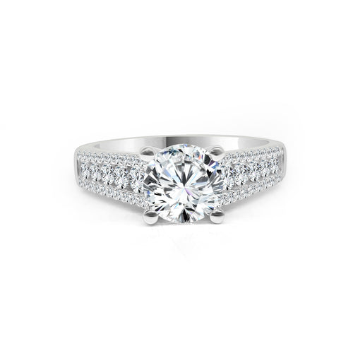 Fana Round Solitaire With Triple Diamond Band