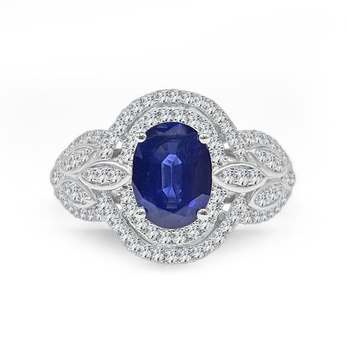 Oval Sapphire With Double Halo And Leaf Design Band