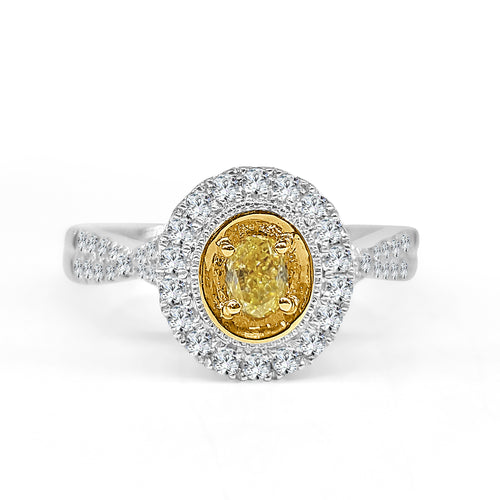 Oval Yellow Diamond Ring With Halo