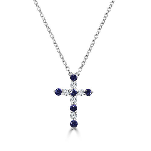 Fana Fancy Sapphire And Diamond Cross Necklace