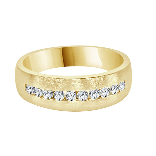 Diamond Channel Set Satin Finish Yellow Gold Gents Band