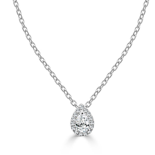 Pear Halo With Pear Shape Diamond Necklace