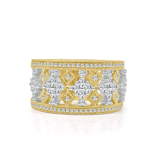 Two-tone Milgrain And Diamond Fancy Ring