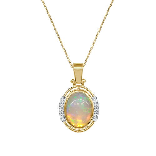 Oval Opal Necklace With Diamond Accents