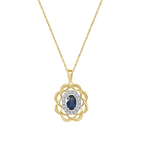 Oval Sapphire And Diamond Fancy Scalloped Necklace