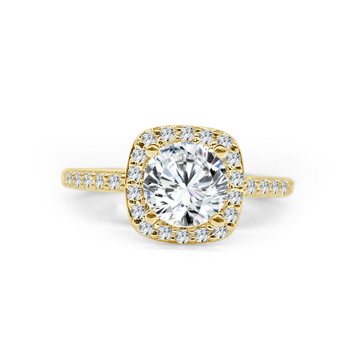 Yellow Gold Cushion Halo With Diamond Band