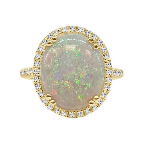 Fancy 3.91 Carat Opal Ring With Diamond Halo