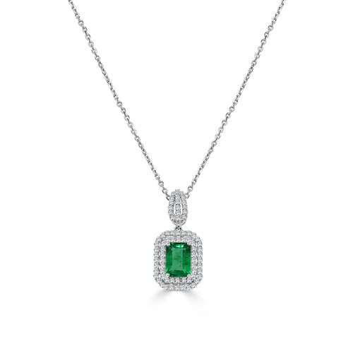 One Carat Emerald Necklace With Double Diamond Halo
