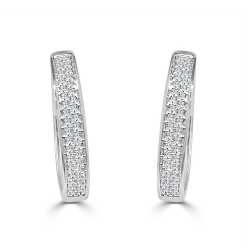 Double Row Quarter Carat Diamond Hoop Earrings