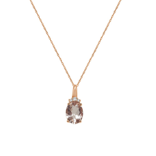 Oval Morganite And Diamond Necklace In Rose Gold