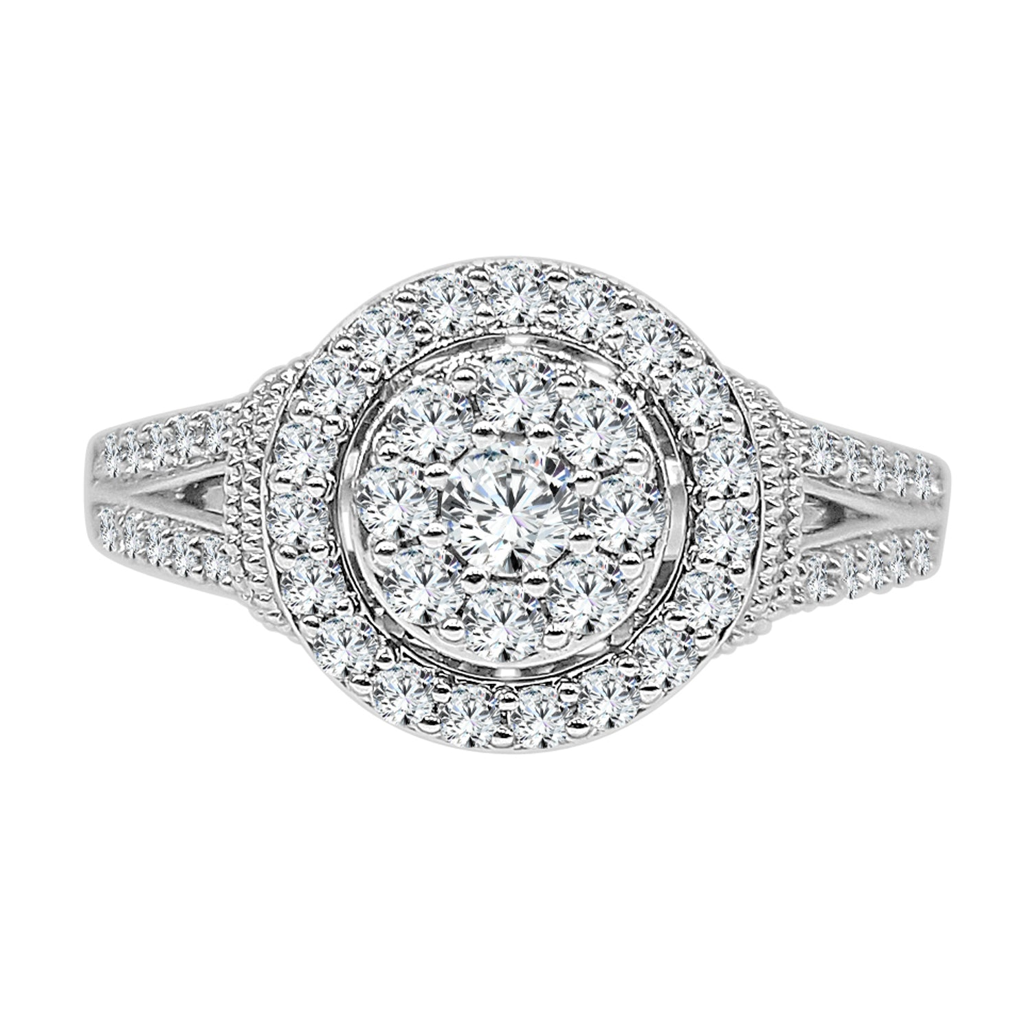 Half Carat Round Diamond Cluster Ring With Antiquing