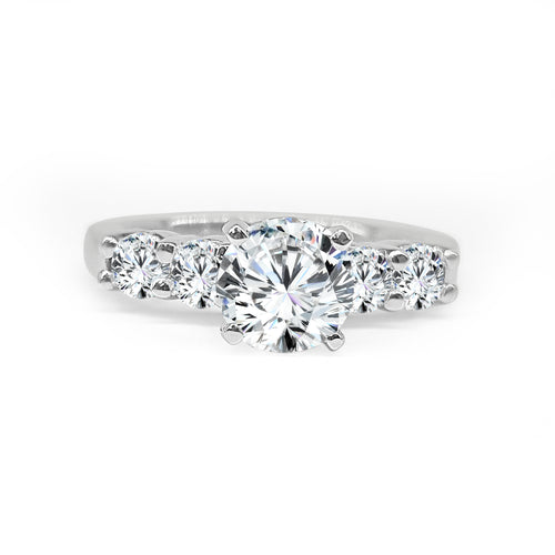 Solitaire With Four Diamond Band