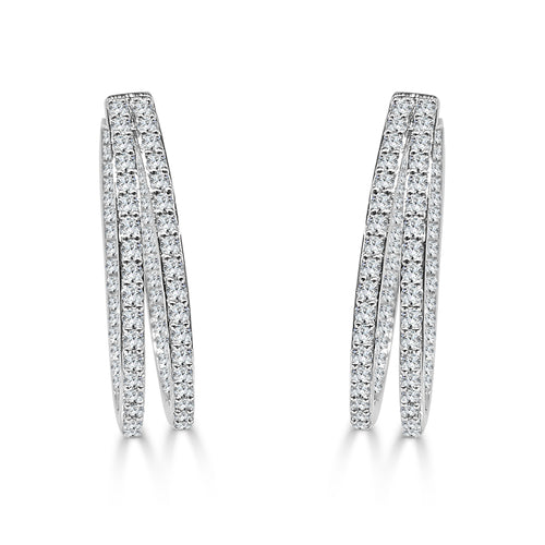 Double In And Out Diamond Hoop Earrings