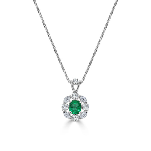 Emerald Necklace With Fancy Diamond Halo