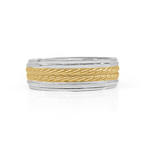 Double Twisted Yellow Gold Rope Wedding Band