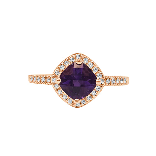 Cushion Amethyst Ring With Diamond Halo And Band