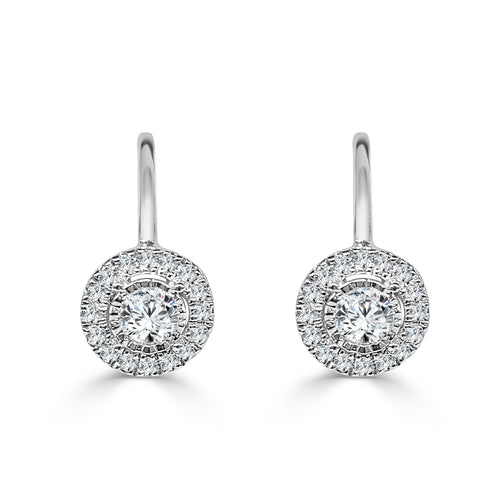 Round Diamond With Halo Drop Earrings