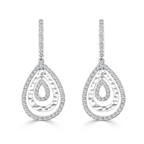 Triple Teardrop Diamond Earrings