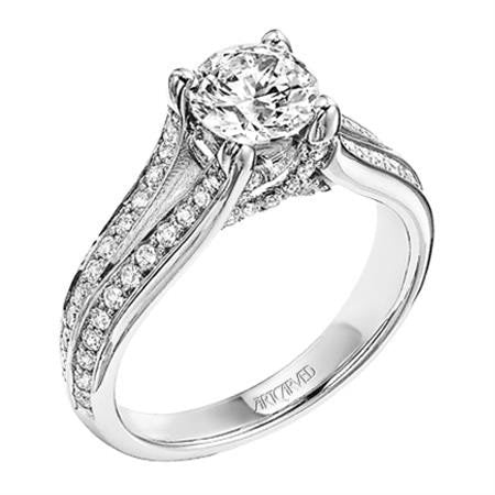 Split Shank Round Diamond Engagement Ring