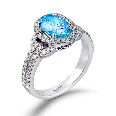 Simon G. Aquamarine And Diamond Oval Halo With Split Shank Ring