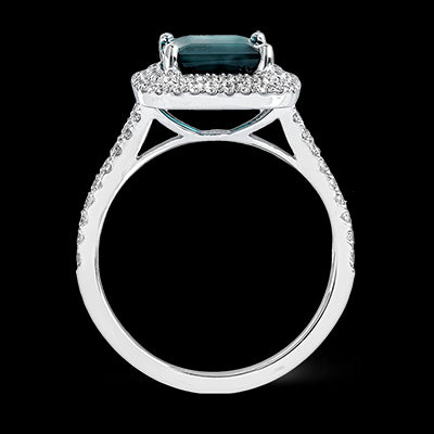 Simon G. Cushion Cut Green Tourmaline Ring With Double Diamond Halo