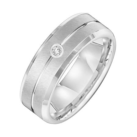 Bevel Edge Wedding Band With Diamond Accent
