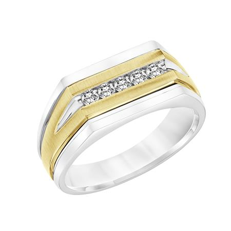 Tapered Profile Band With Flat Front With Channel Set Diamonds