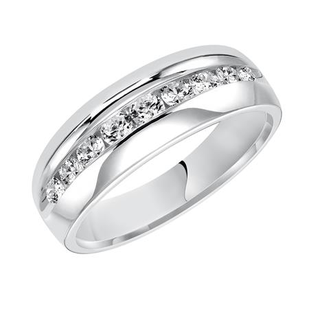 Channel Set Diamond Comfort Fit Wedding Band