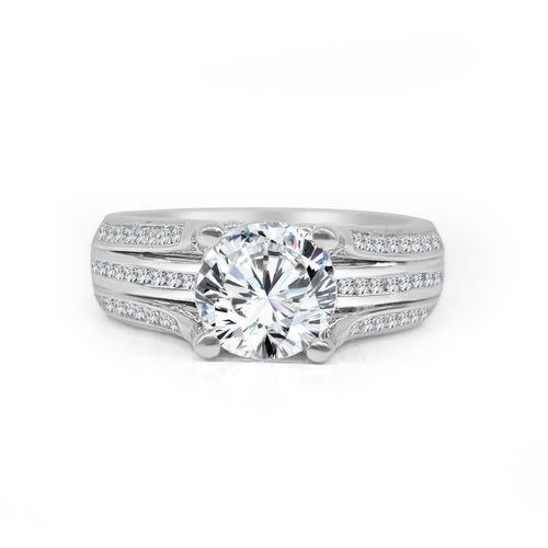 Round Solitaire With Triple Channel Set Band