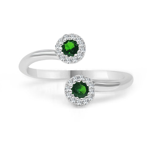 Green Garnet With Diamond Halo Wrap Ring