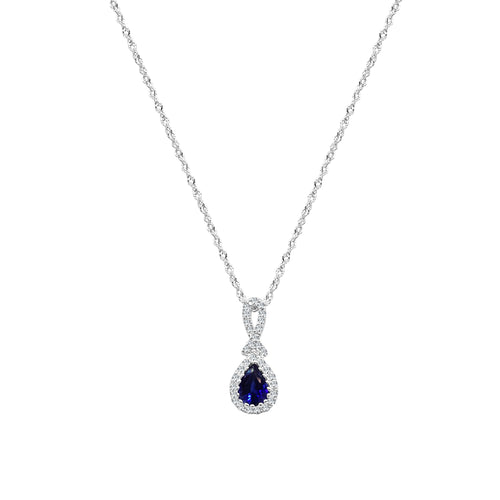 Pear Shaped Sapphire With Diamond Halo Necklace