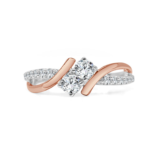 Two Stone Twist Ring With Rose Gold