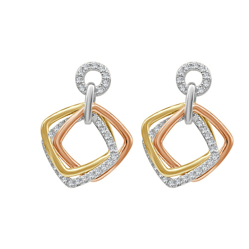 Tri-color Cushion And Diamond Dangle Earrings