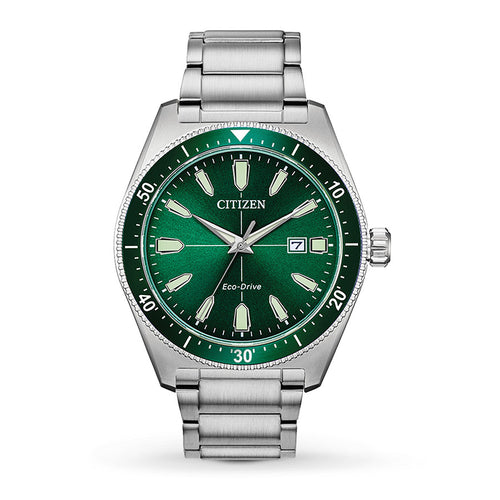 Citizen Mens Ecodrive Green Dial And Date