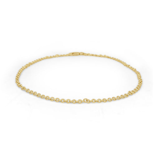 Cable Chain Anklet In Yellow Gold