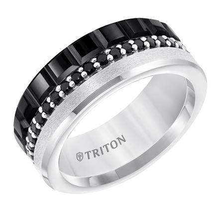 Black And White Wedding Band With Black Diamond Center Row