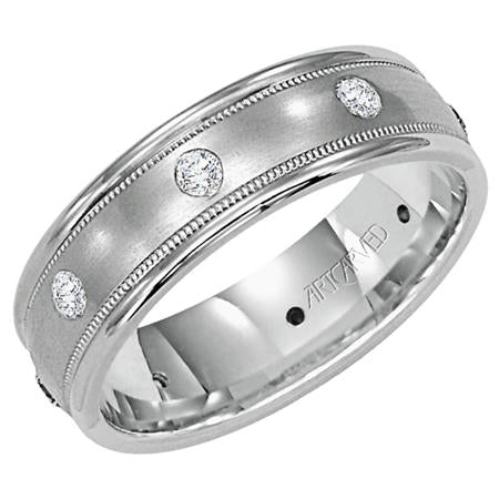 Diamond Wedding Band With Satin Finish Milgrain And Rolled Edges