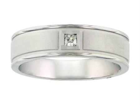 Single Princess Cut Diamond And Textured Finish Wedding Band