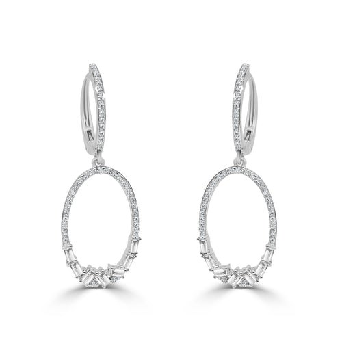 Fancy Oval Diamond Drop Earrings