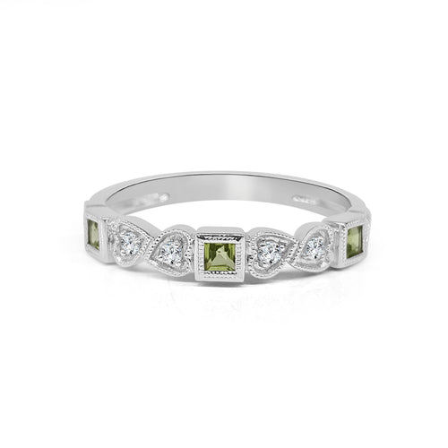 Square Peridot And Diamond Fancy Ring