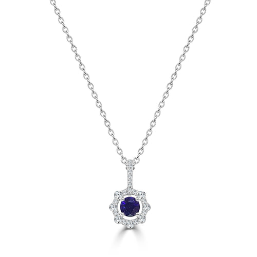Fana Round Sapphire With Scalloped Diamond Halo Necklace