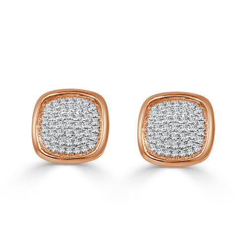 Pave Diamond Cushion Stud Earrings In Rose Gold