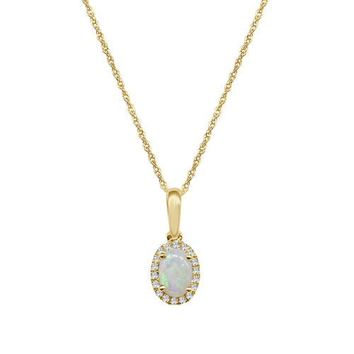 Oval Opal With Diamond Halo Necklace