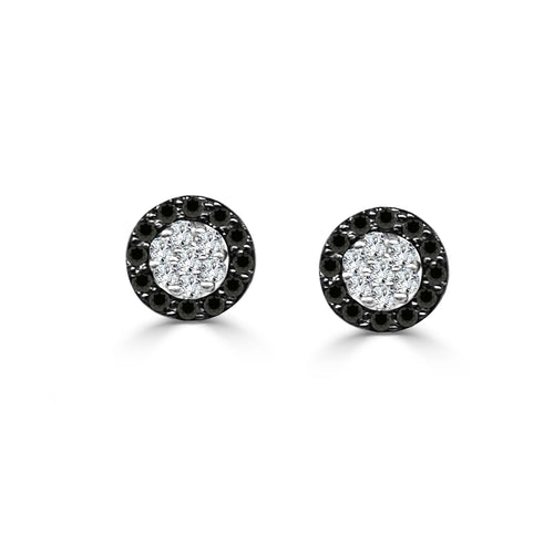 Fancy Round Black And White Diamond Stud Earrings