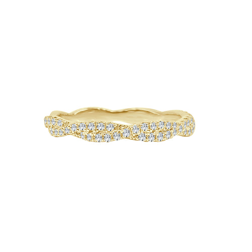 Diamond Twist Stack Band In Yellow Gold