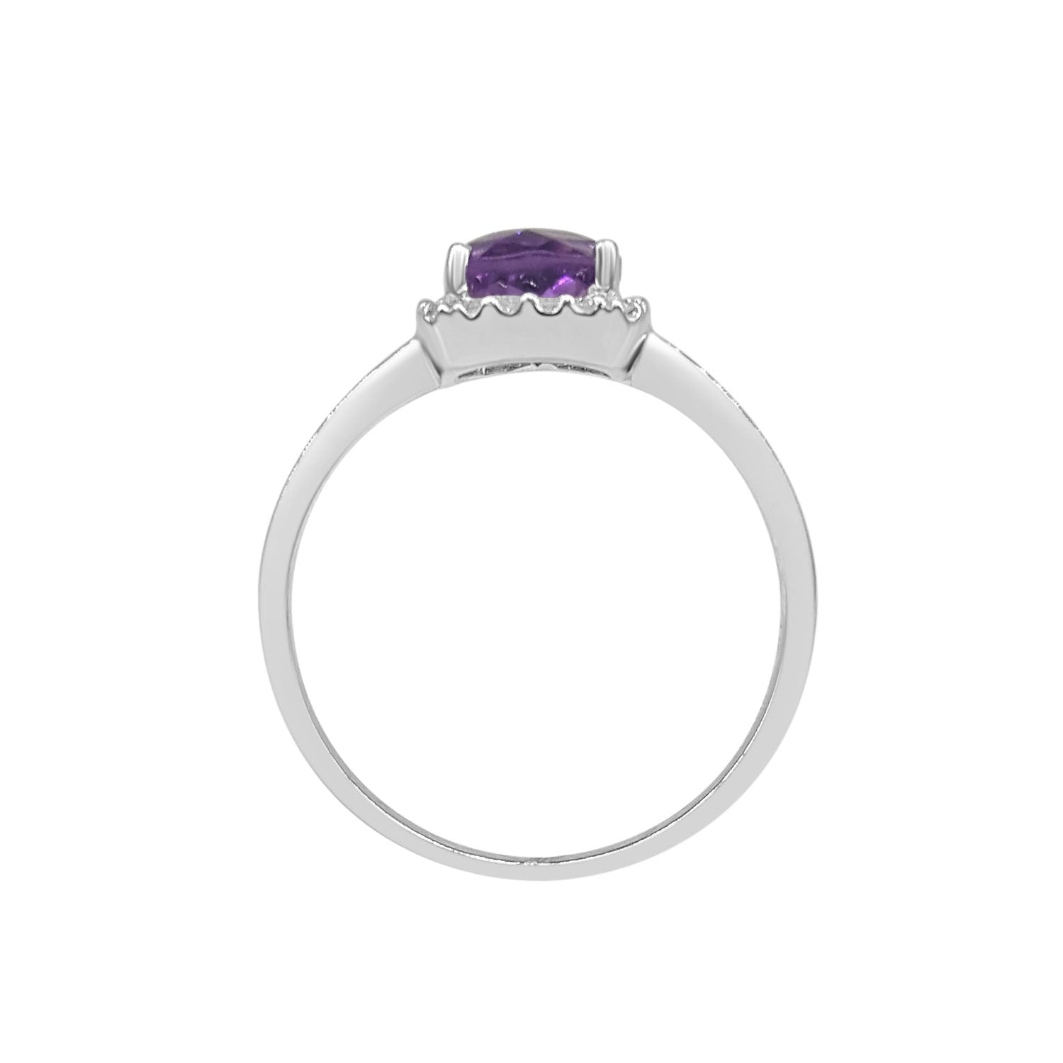 Amethyst Ring With Diamond Cushion Halo